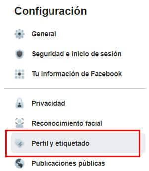 configurar perfil y etiquetado facebook