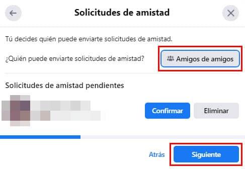 configurar solicitudes facebook