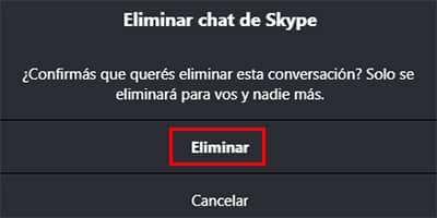confirmar eliminar chat