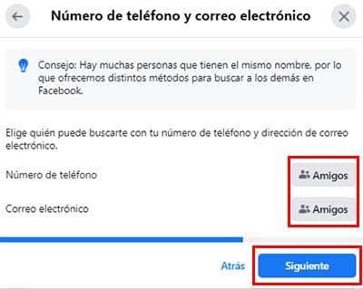 configurar privacidad de correo y telefono en facebook