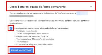 dar de baja cuenta de youtube