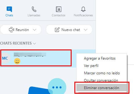 eliminar conversacion de skype