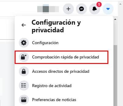 entrar en configuracion rapida de privacidad facebook