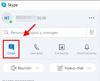 ir a chat skype