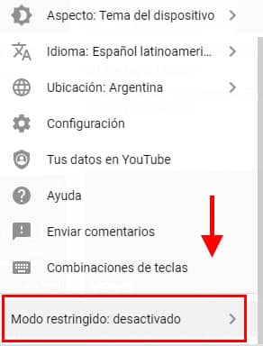 modo restringido youtube