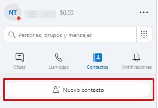 nuevo contacto