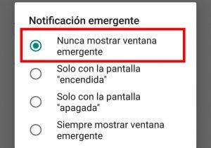 opcion de notificacion emergente