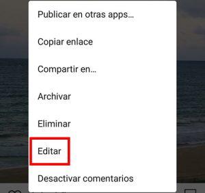 selecciona editar