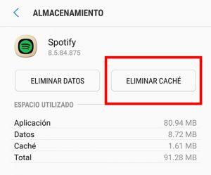 selecciona eliminar cache