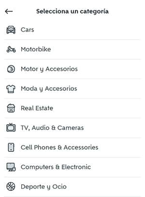 seleccionar categoria de producto en wallapop