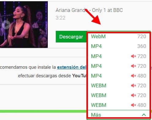 seleccionar como descargar video youtube