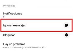 seleccionar ignorar mensajes