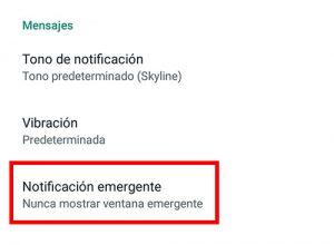 seleccionar notificaciones emergentes