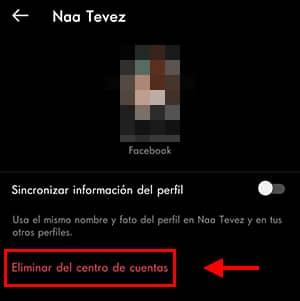 eliminar cuenta de facebook en instagram
