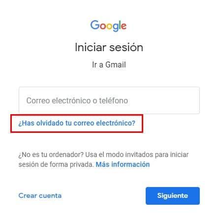 recuperar cuenta de correo para google autenticador